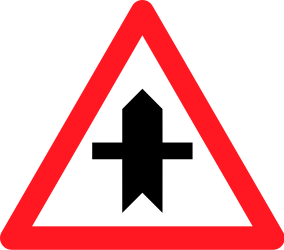 Traffic sign of Switzerland: Warning for a crossroad side roads on the left and right