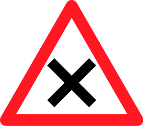 Traffic sign of Switzerland: Warning for an uncontrolled crossroad