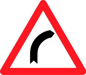 Traffic sign of Switzerland: Warning for a curve to the right