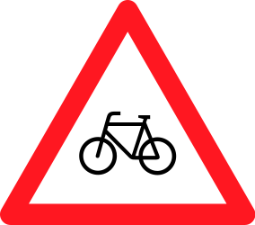 Traffic sign of Switzerland: Warning for cyclists