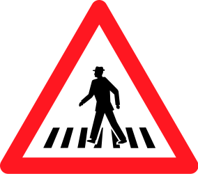 Traffic sign of Switzerland: Warning for a crossing for pedestrians