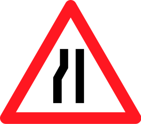 Traffic sign of Switzerland: Warning for a road narrowing on the left