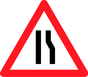 Traffic sign of Switzerland: Warning for a road narrowing on the right