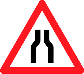 Traffic sign of Switzerland: Warning for a road narrowing