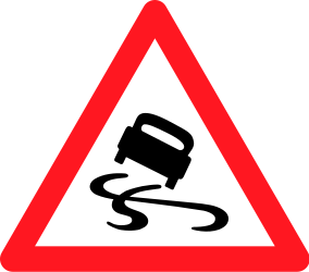 Traffic sign of Switzerland: Warning for a slippery road surface