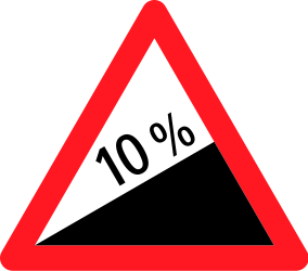 Traffic sign of Switzerland: Warning for a steep ascent