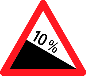Traffic sign of Switzerland: Warning for a steep descent