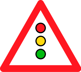 Traffic sign of Switzerland: Warning for a traffic light