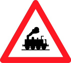 Traffic sign of Switzerland: Warning for a railroad crossing without barriers