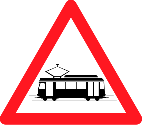 Traffic sign of Switzerland: Warning for trams