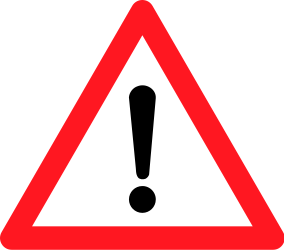 Traffic sign of Switzerland: Warning for a danger with no specific traffic sign