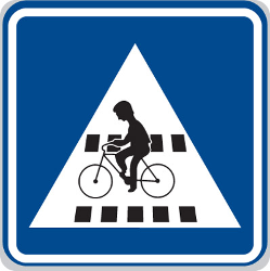 Traffic sign of Czech: Crossing for cyclists