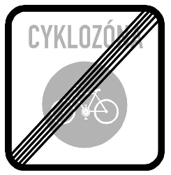 Traffic sign of Czech: End of the zone for cyclists