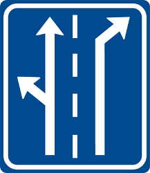 Traffic sign of Czech: Overview of the lanes and their direction