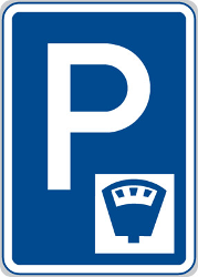 Traffic sign of Czech: Parking only allowed if you pay