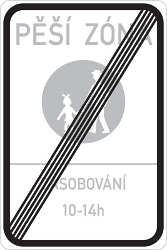 Traffic sign of Czech: End of the zone for pedestrians