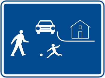 Traffic sign of Czech: Begin of a residential area