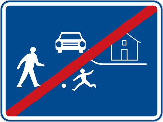 Traffic sign of Czech: End of the residential area