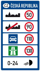 Traffic sign of Czech: National speed limits