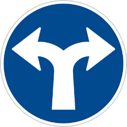 Traffic sign of Czech: Turning left or right mandatory