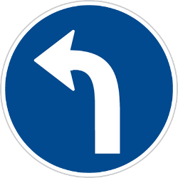 Traffic sign of Czech: Turning left mandatory