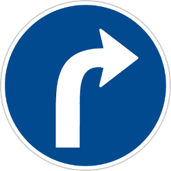 Traffic sign of Czech: Turning right mandatory