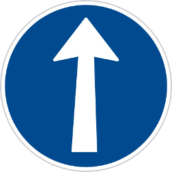 Traffic sign of Czech: Driving straight ahead mandatory