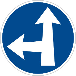 Traffic sign of Czech: Driving straight ahead or turning left mandatory