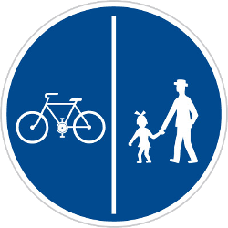 Traffic sign of Czech: Mandatory divided path for pedestrians and cyclists