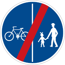 Traffic sign of Czech: End of the divided path for pedestrians and cyclists