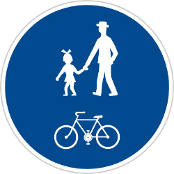 Traffic sign of Czech: Mandatory shared path for pedestrians and cyclists