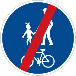 Traffic sign of Czech: End of the shared path for pedestrians and cyclists