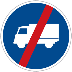 Traffic sign of Czech: End of the lane for trucks