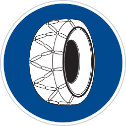 Traffic sign of Czech: Snow chains mandatory
