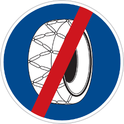Traffic sign of Czech: Removing snow chains mandatory