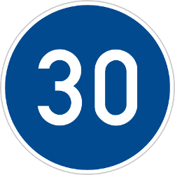 Traffic sign of Czech: Driving faster than indicated mandatory (minimum speed)