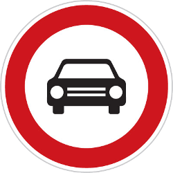 Traffic sign of Czech: Cars prohibited