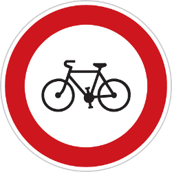 Traffic sign of Czech: Cyclists prohibited
