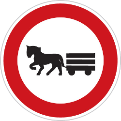 Traffic sign of Czech: Horsecarts prohibited