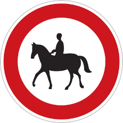 Traffic sign of Czech: Equestrians prohibited
