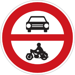 Traffic sign of Czech: Motorcycles and cars prohibited