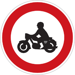 Traffic sign of Czech: Motorcycles prohibited