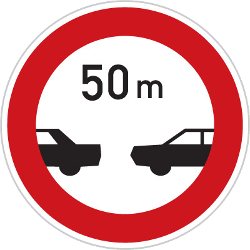 Traffic sign of Czech: Leaving less distance than indicated prohibited