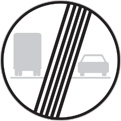 Traffic sign of Czech: End of the overtaking prohibition for trucks