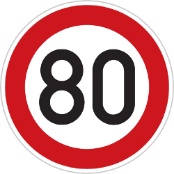 Traffic sign of Czech: Driving faster than indicated prohibited (speed limit)