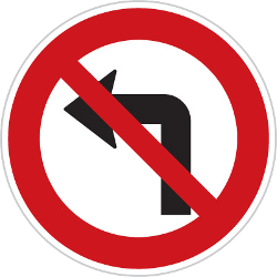 Traffic sign of Czech: Turning left prohibited
