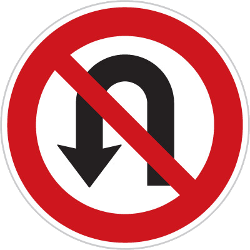 Traffic sign of Czech: <b>Turning</b> around prohibited (<a href='/en/czech/overview/u-turn'>U-turn</a>)