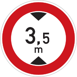 Traffic sign of Czech: Vehicles higher than indicated prohibited