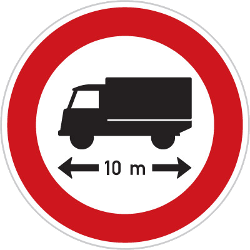 Traffic sign of Czech: Vehicles longer than indicated prohibited