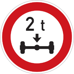 Traffic sign of Czech: Vehicles with an axle weight heavier than indicated prohibited